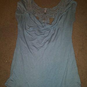 Womens cowl neck faux lace back blouse